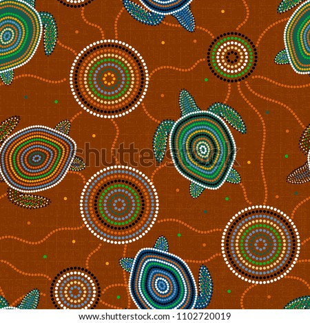 Australian Aboriginal Art. Point drawing. Sea turtles and jellyfish. Seamless pattern. Background brown