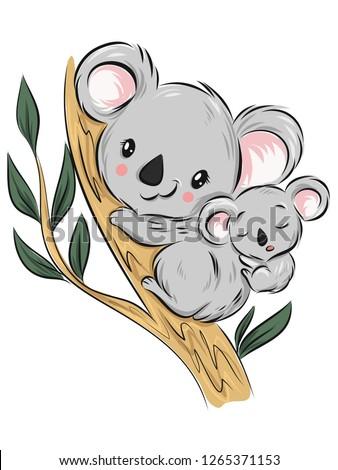 Australian animal. Koala bear cartoon vector illustration.