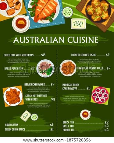 australian cuisine vector menu