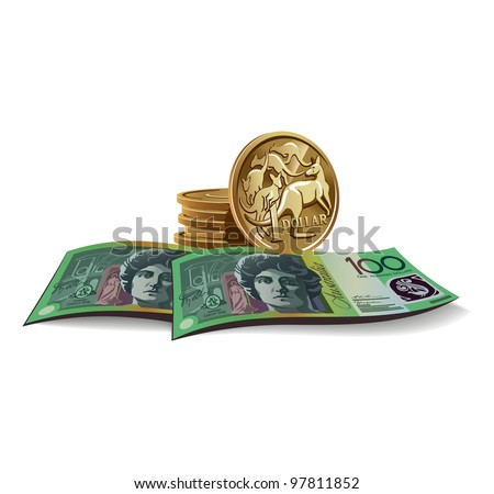 Australian dollar banknotes and coins vector illustration in color, financial theme ; isolated on background.