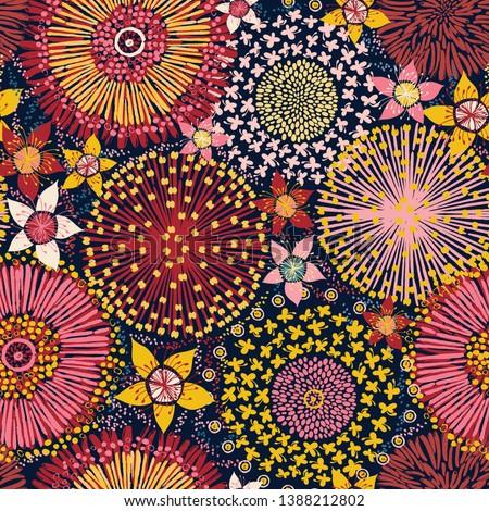 Australian flora, seamless pattern, colorful flowers background, vector illustration
