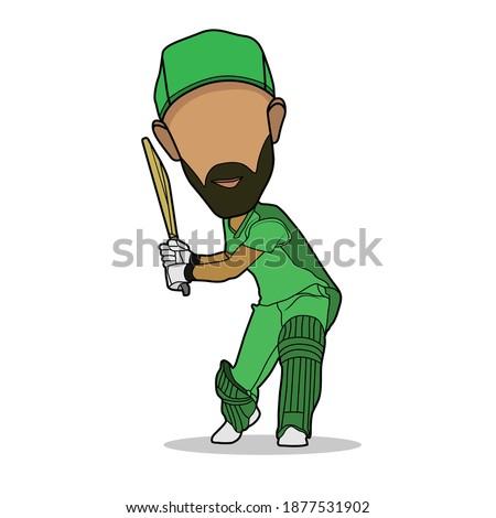 Australian player Illustration. Batsman caricature. Faceless cricketer cartoon vector. Batting Character. Stock photo ©