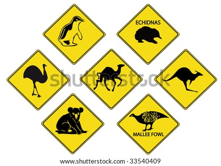 Australian road signs - stock vector