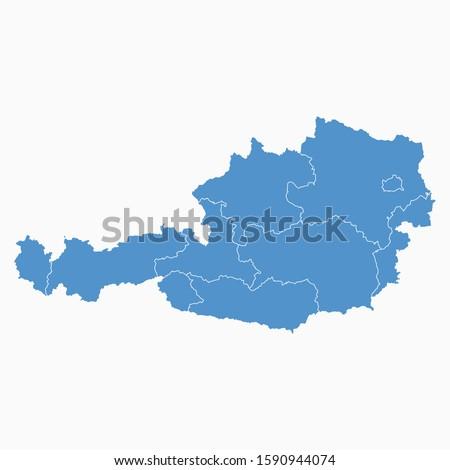 Austria Blue Map On White Background Austria Modern Icon Map Austria Simple Vector illustration EPS10