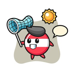 Austria flag badge mascot illustration is catching butterfly, cute style design for t shirt, sticker, logo element