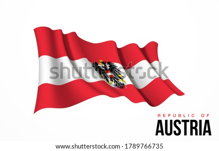 Austria flag state symbol isolated on background national banner. Greeting card National Independence Day of the Republic of Austria. Illustration banner with realistic state flag.