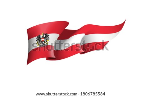 Austria flag state symbol isolated on background national banner. Greeting card National Independence Day of the Republic of Austria. Banner with realistic state flag.