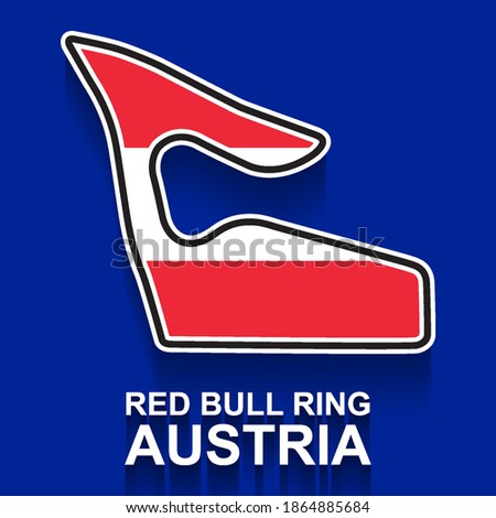 Austria grand prix race track for Formula 1 or F1 with flag. Detailed racetrack or national circuit for motorsport and formula1 qualification. Vector illustration.