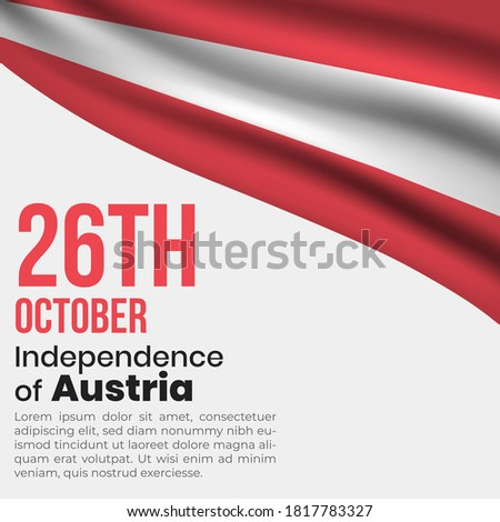 Austria independence day or republic day vector illustration. Austria  flag with independence date. Austria wavy flag. republic day template. Austria independence day greeting card template.