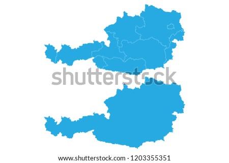 Austria map - blue pastel graphic background . Vector illustration eps 10.High detailed blue vector map - Austria.