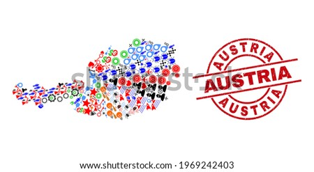 Austria map collage and dirty Austria red round stamp print. Austria stamp uses vector lines and arcs. Austria map mosaic includes gears, houses, lamps, bugs, stars, and more icons.