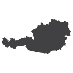Austria map in black on a white background. Vector illustration