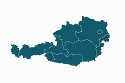Austria map vector. blue color on white background.