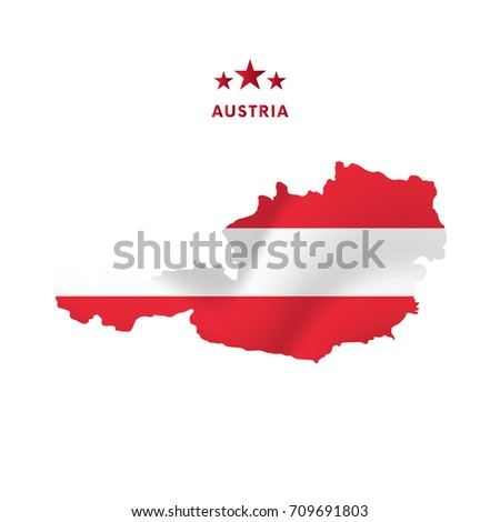 austria map with waving flag