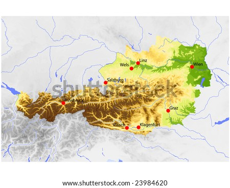 Free Austria Map Vector Download Free Vector Art Stock Graphics - Map of austria cities
