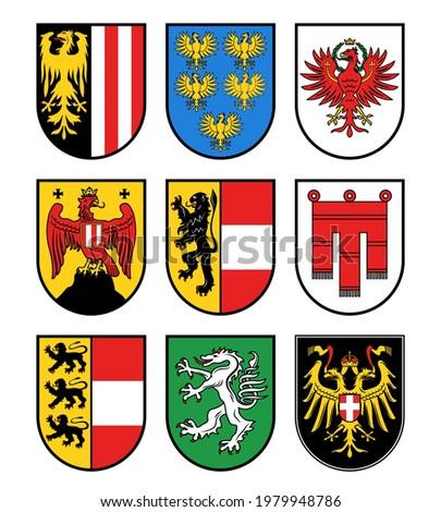 Austria regions heraldry, Austrian states vector coat of arms. Burgenland, Carinthia, and Lower Austria emblems, Salzburg, Styria and Tyrol, Upper Austria and Vienna, Vorarlberg flags icons