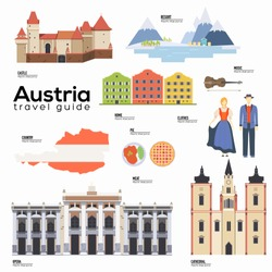 Austria travel guide template. Set of austrian landmarks, cuisine, traditions flat icons, pictograms on white. Sightseeing attractions and cultural symbol vector elements for tourist infographic, web.
