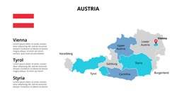 Austria vector map infographic template divided by countries. Slide presentation.