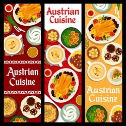 Austrian cuisine vector beer soup and wheat croutons, potato cheese dumplings and almond pie. Baked goose with apples, crescent cookies and beef stew with mashed potato with nut cakes food of Austria