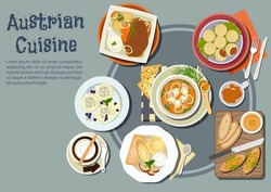 Austrian cuisine with sandwiches topped with liptauer spread, goulash and pork dumplings, baked pork with boiled potatoes and garlic sauce, cups of coffee, pancakes, ice cream and plum dumplings