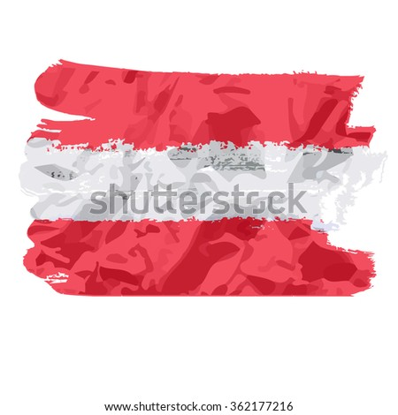 austrian flag painted by brush