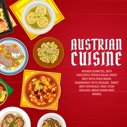 Austrian food cuisine dishes menu vector banner. Bread dumplings knodel, sauerkraut with sausage and beef tafelspitz, meat stew goulash, roast beef with fried onion and potato salad, wiener schnitzel