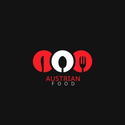 Austrian food logo icon template.Spoon,knife and fork icon vector illustration