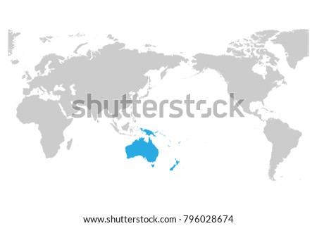 Simple World Map Flat. Austtralia and Oceania continent blue marked in grey silhouette of World map  Simple flat vector Flat New Zealand Map Download Free Vector Art Stock Graphics