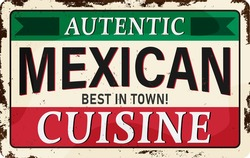 Autentic Mexican Cuisine restaurant and tequila bar, old vintage sign concept with text message and hot chili on grunge red background. Vector art