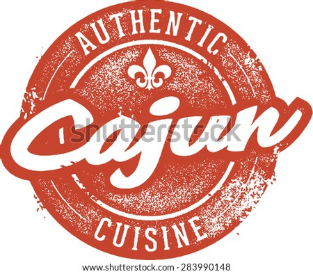 Authentic cajun cuisine menu stamp stock vector for Authentic cajun cuisine