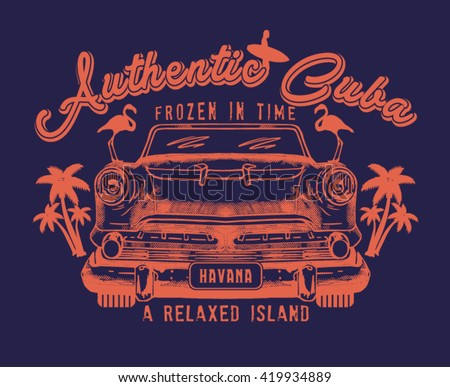 authentic Cuba.old cars and surfers