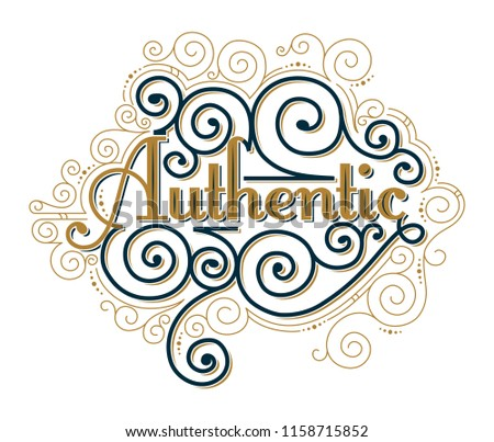 Authentic decorative lettering ornate emblem