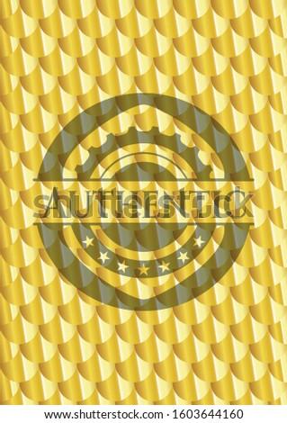 Authentic golden badge or emblem. Scales pattern. Vector Illustration. Detailed.