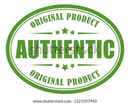 Authentic green label on white background