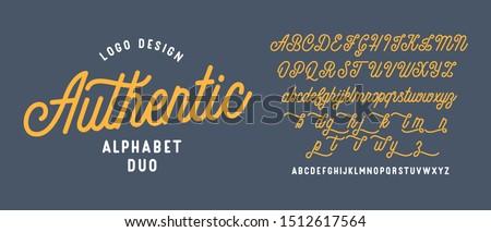 Authentic lettering alphabet duo. Vector font.