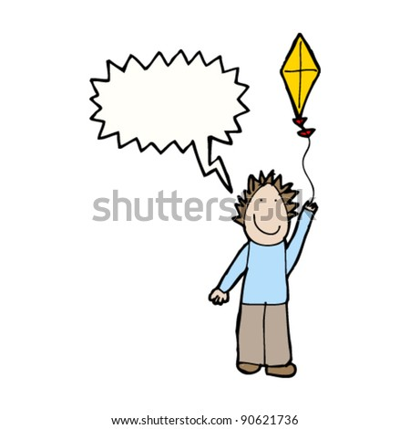 authentic looking child's drawing of boy flying a kite