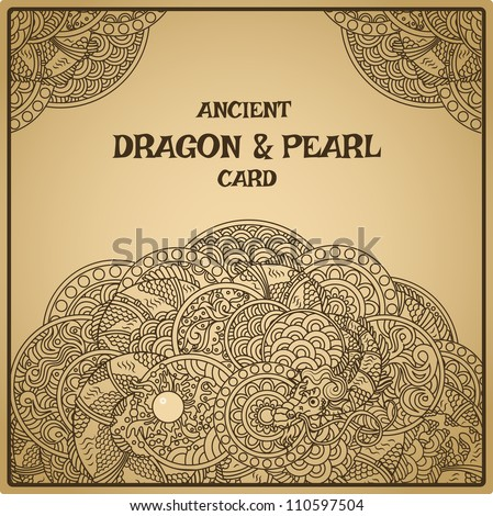 Authentic parchment oriental dragon with pearl card