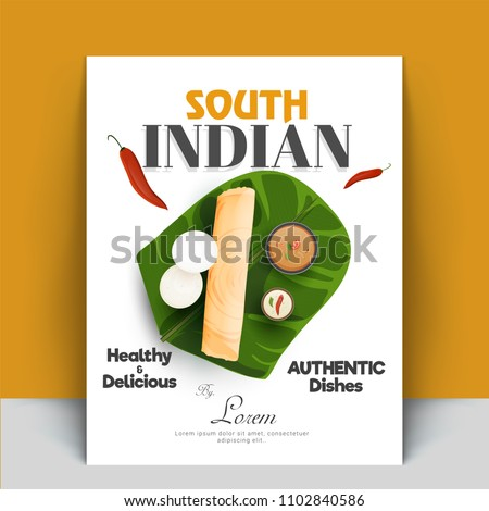 Authentic south indian cook book or recipe book cover designs with masala dosa, sambhar, coconut chutney, and idli.