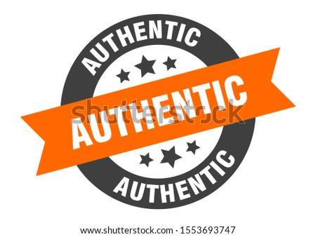 authentic tag. authentic orange-black round ribbon sticker sign