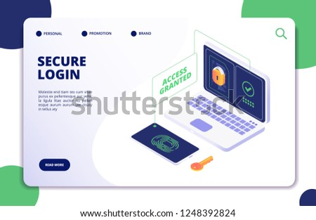 Authentication and authorization. Duo internet identity, safety multi password. Authentic isometric 3d vector concept