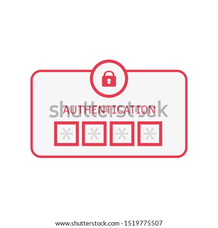 authentication bar icon in flat style, vector illustration