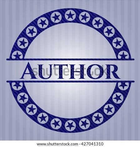 Author emblem with denim high quality background