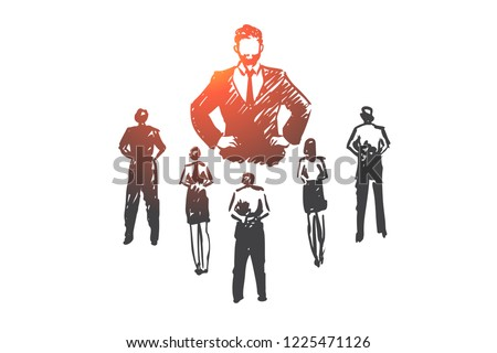 Authoritarian boss, work, dictator, leader, pressure concept. Hand drawn strict boss and subordinates concept sketch. Isolated vector illustration.