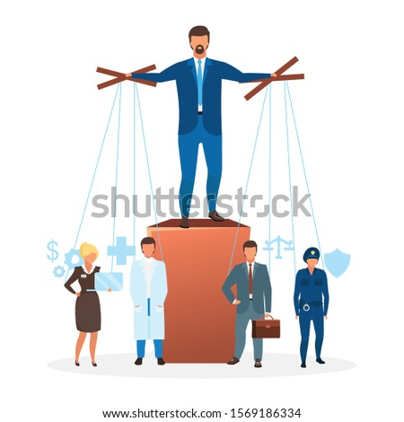 Authoritarian regime flat vector illustration. Political system metaphor. Form of government. Manipulating and controlling institutions, economics. Centralized power cartoon characters