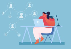 Authority and Responsibilities Delegation Concept. Productive Business Woman Working on Laptop with Arrow Scheme of Delegating Workflow Tasks, Structure of Management Cartoon Flat Vector Illustration