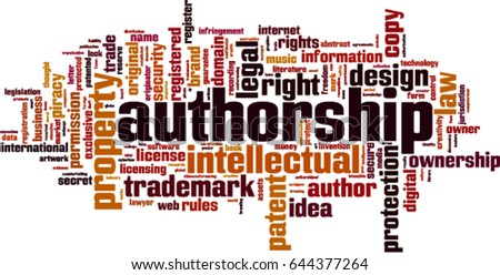 Authorship word cloud concept. Vector illustration