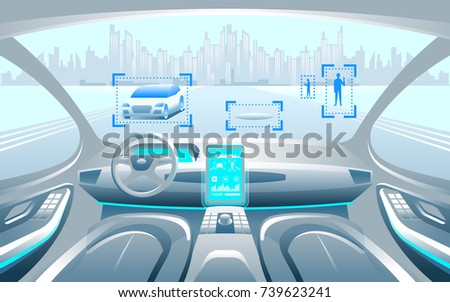 Autinomous smart car inerior. Self driving at city landscape. Display shows information about the vehicle is moving, GPS, travel time, scan distance Assistance app. Future concept