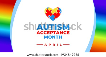 Autism Acceptance Month. Vector banner, poster, flyer, greeting card for social media with the text Autism Acceptance Month, April. Illustration with Puzzles and rainbow on white background. Сток-фото ©