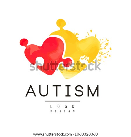 Autism awareness concept with two pieces of puzzle in shape of hearts. Original vector logo for charitable organization, medical or wellness center