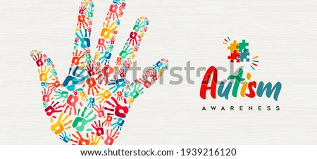 Autism Awareness Day web banner illustration of colorful diverse children hand print together. Autistic children learning ability support concept, kid friend group design.